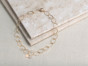 gold-filled hammered link necklace with discs