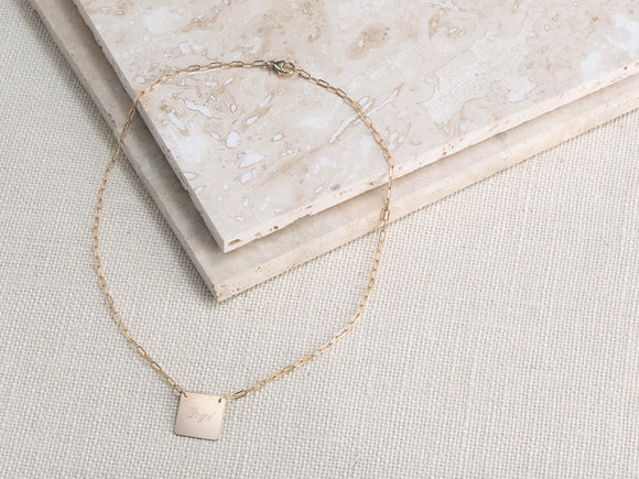 rounded square necklace monogrammed