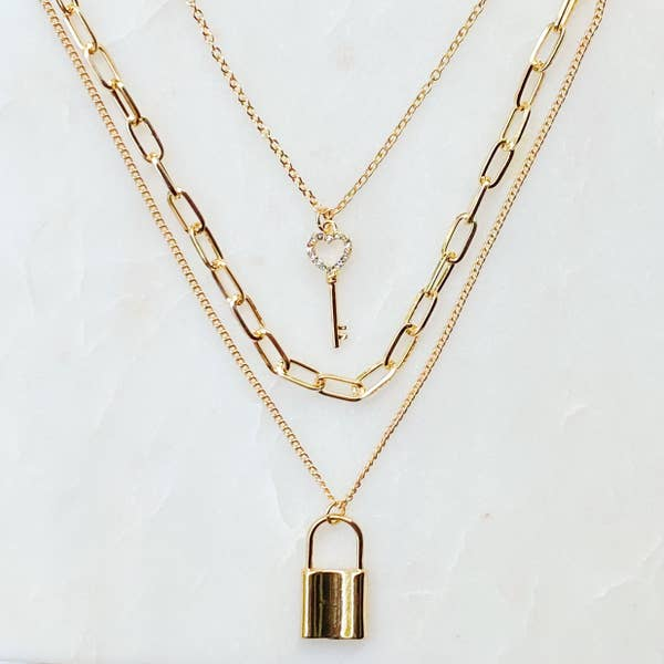 Layered Locket & Key Necklace