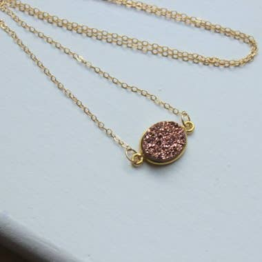 Rose Gold Druzy Necklace