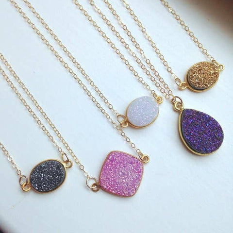Gold Druzy Gray Necklace