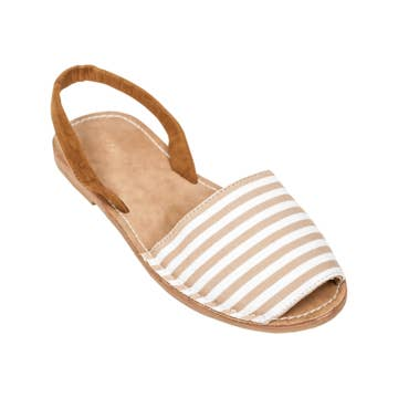 all day comfort, arch support, neutral striped sandal