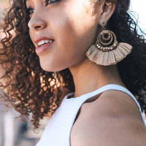 Natural Fan Bead and Coil Dangle Drop Earrings