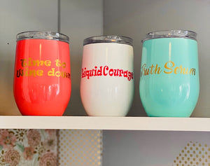 Keep any drink cool in these cute and classy cups. They are the size of a wine glass. These wine tumblers are locally and custom made so please message us through our cell number or on social media if you would like something in particular.
