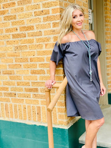 grey off the shoulder paper-bag woman's dress