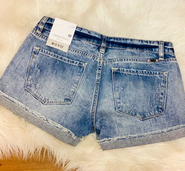 Mid Rise Distressed Kancan Shorts