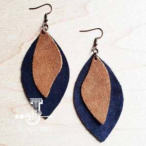 Leather Oval Tan Suede Earrings with Suede Navy Accents