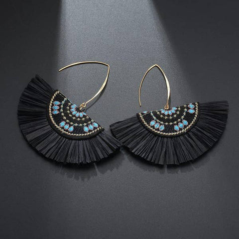 Black Raffia Fan Earring