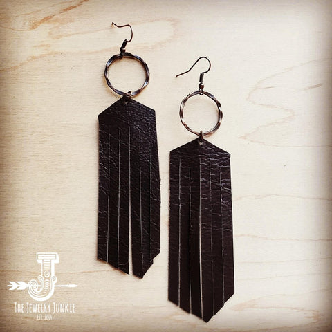 Brown Leather Fringe Earrings
