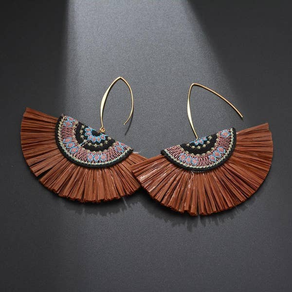 Brown Raffia Fan Earring