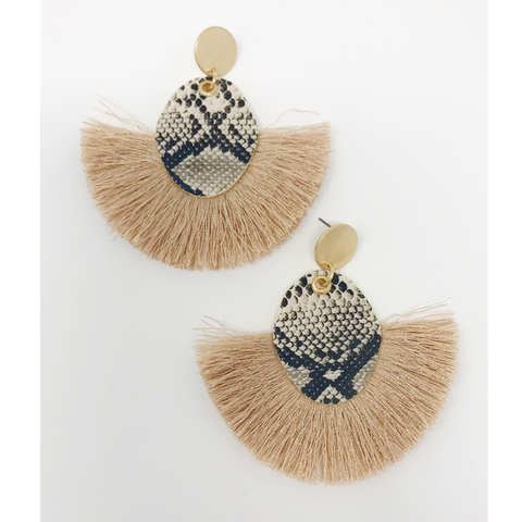 Snakeskin Fan Tassel Earrings