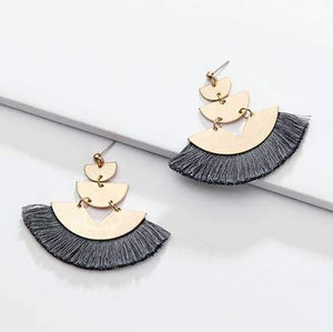 Gray Triple Gold Fan Earrings