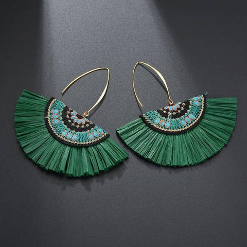 Green Raffia Fan Earring