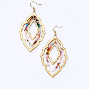 Gold and Marble Geo Earrings