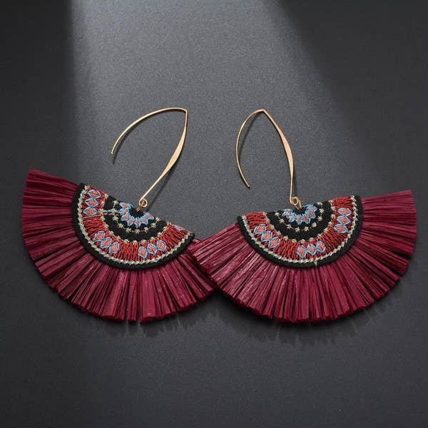 Red Raffia Fan Earring