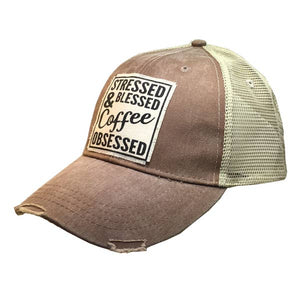 Stressed Blessed and Coffee Obsessed Distressed Hat