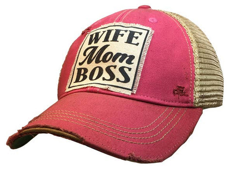 Wife Mom Boss Distressed Hat