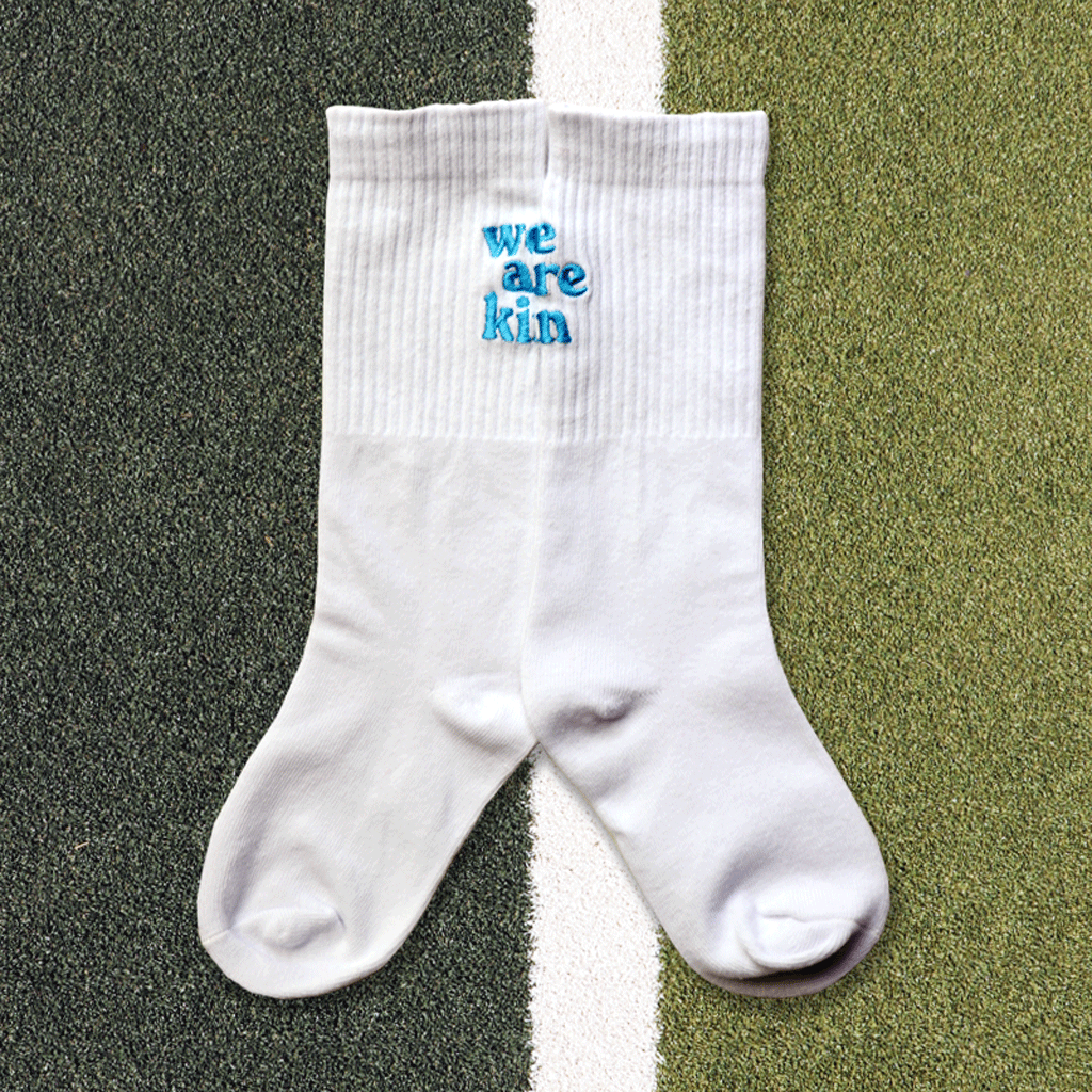 we are kin crew sock in white/blue