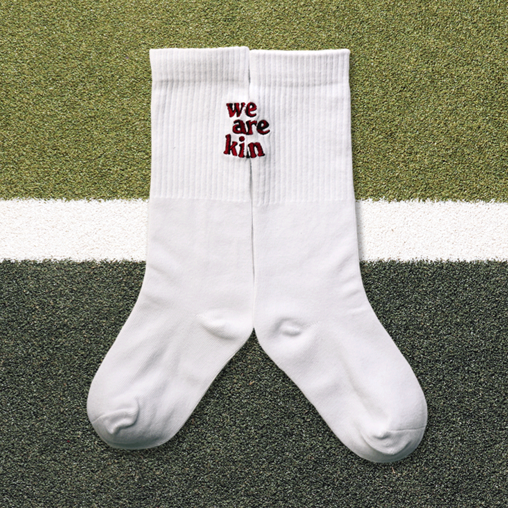 we are kin crew sock in white/burgundy