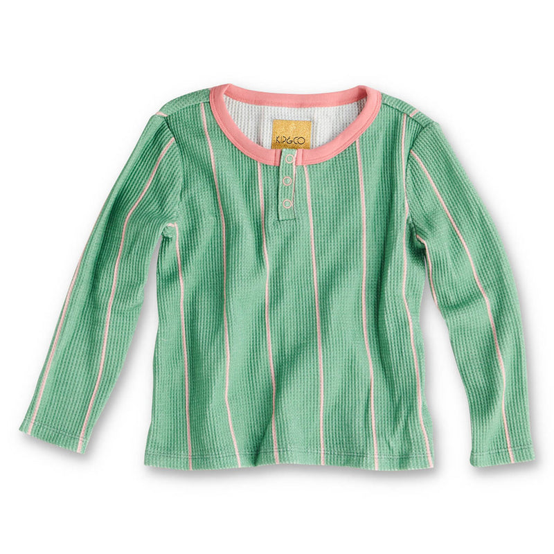Kip & Co Venetian Stripe Long Sleeve Waffle Top