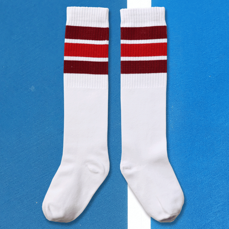 we are kin knee sock in white/reds