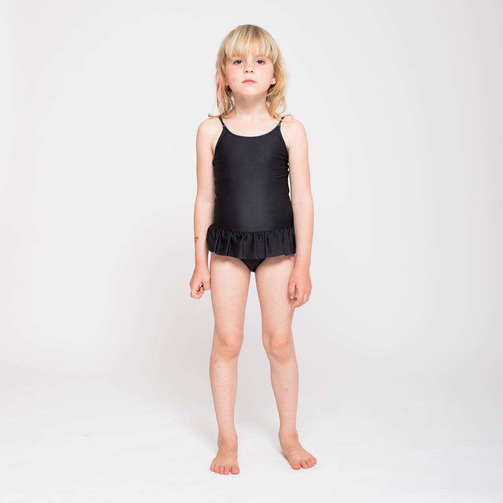 Popupshop black ruffles swimsuit