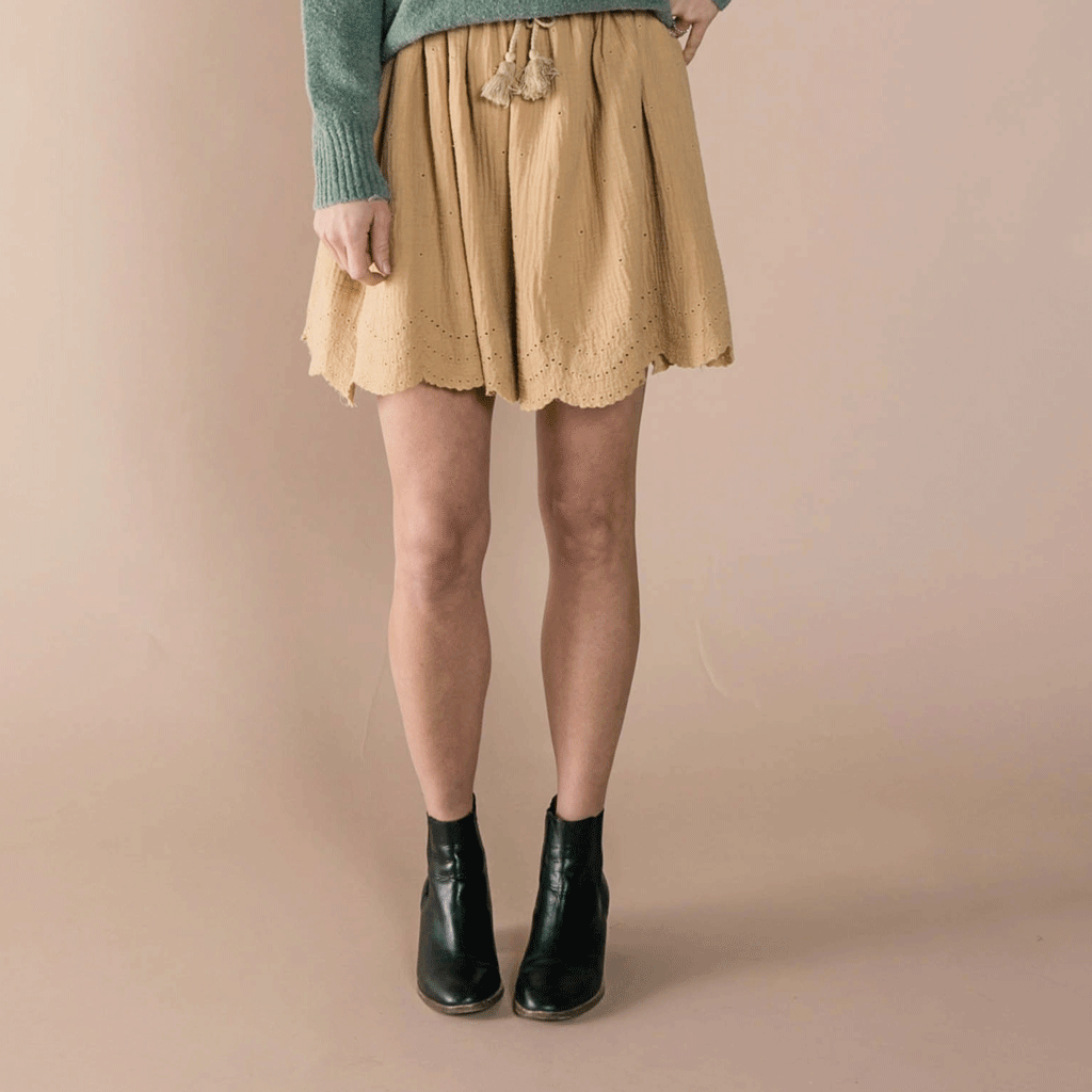 Rylee + Cru women's cotton crepe Mini Skirt
