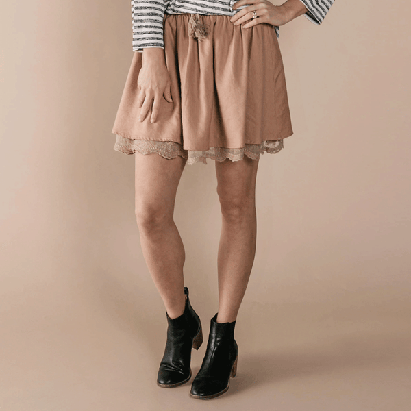 Rylee + Cru women's soft linen Mini Skirt