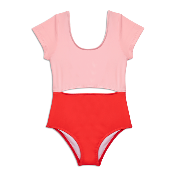 yellow jungle sydney swimsuit in baby pink and deep coral - limited sizes left