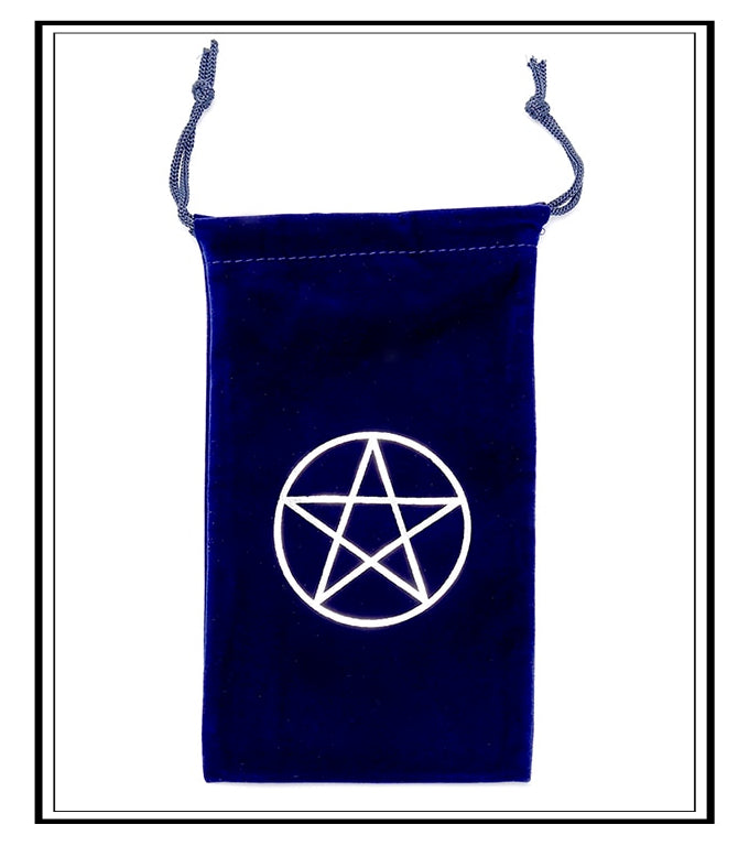 MAGICK PENTAGRAM VELVET ORACLE POUCH ~ NAVY BLUE