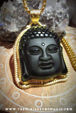 BLACK OBSIDIAN Royal Golden Buddha OM Wealth Matrix Multiplier Talisman Pendant