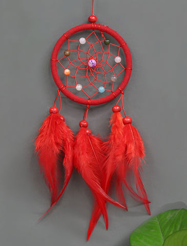 SPIRITUAL ENERGY AMPLIFIER FEATHER DREAMCATCHER ~ Red Color