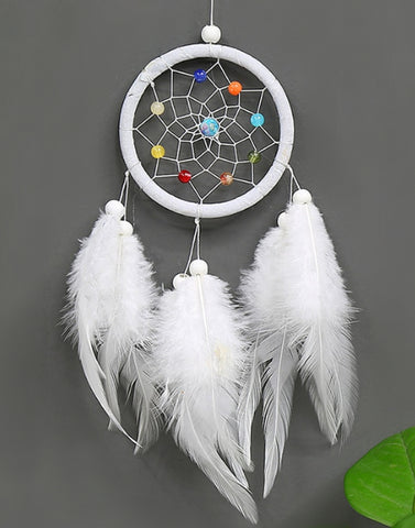 SPIRITUAL ENERGY AMPLIFIER FEATHER DREAMCATCHER ~White Color