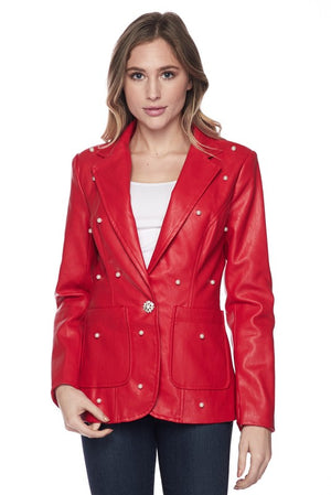 Red Faux Leather Pearl Blazer