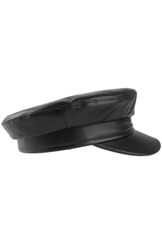 Black Leather Greek Fisherman Hat