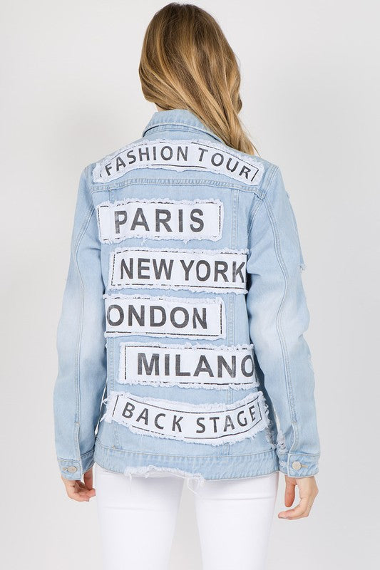Distressed Fashion Tour Patched Denim Jacket