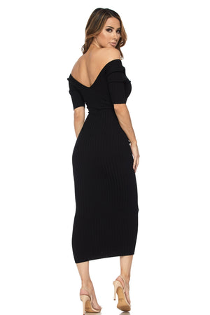 Black Half Sleeve Ribbed Midi Dress