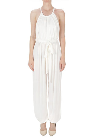 Ivory Side leg Slit Jumpsuit