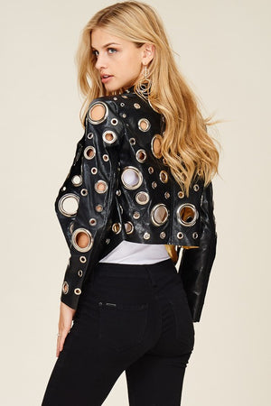 Faux All Over Metal Hole Crop Jacket