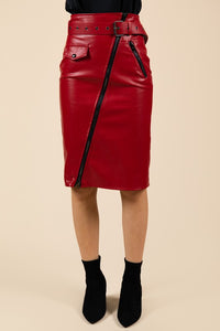 Red Faux Leather Zipper Skirt
