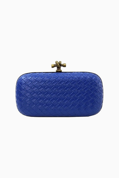 Blue Quilted Snake Clutch