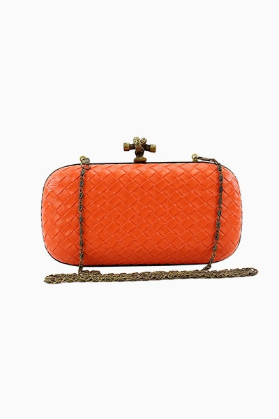 Orange Quilted Snake Clutch