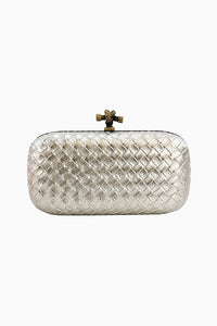 Silver Quilted Snake Clutch