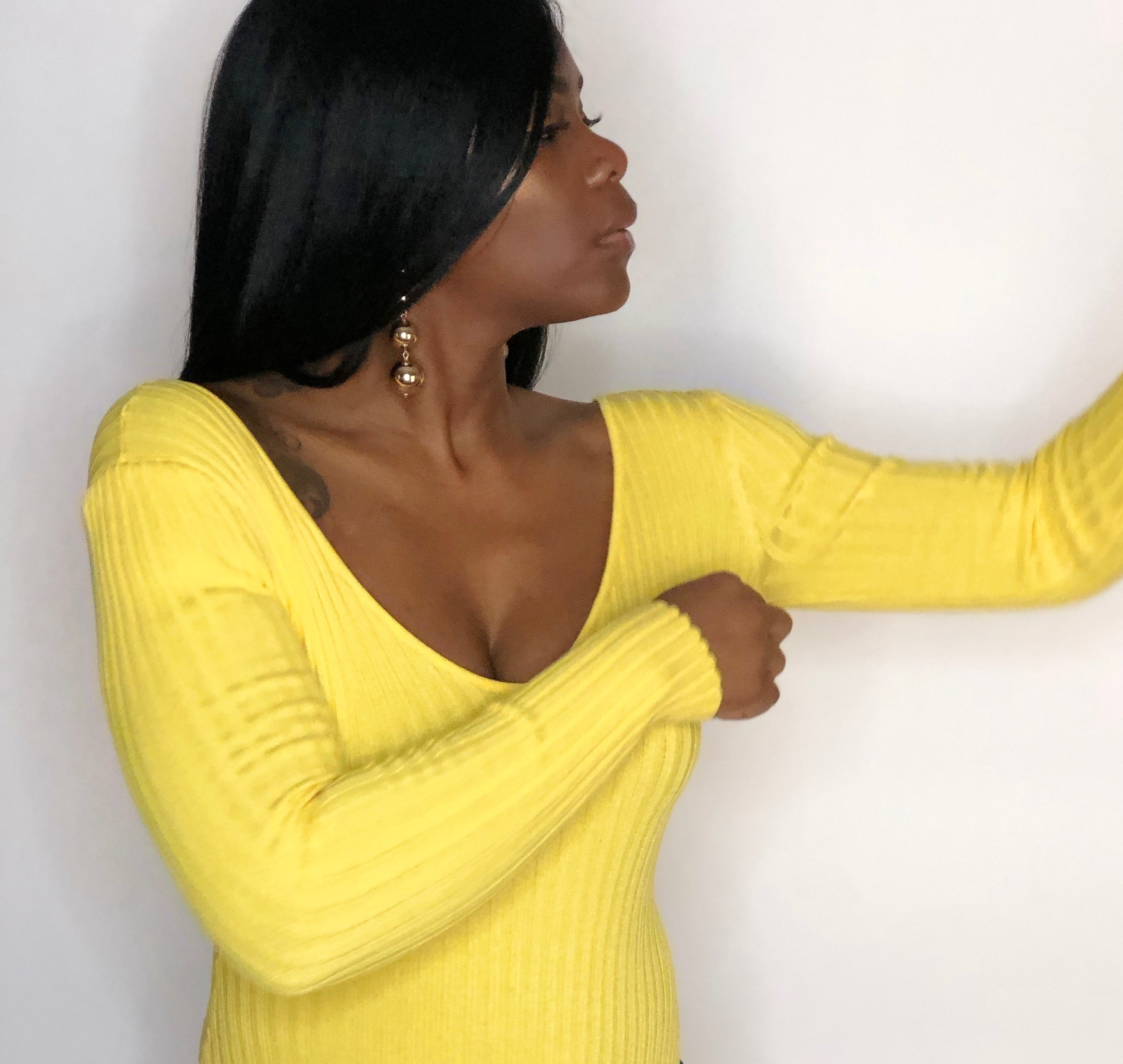 Knit Off The Thoulder Yellow Bodysuit