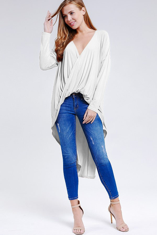 High Low Hem White Top