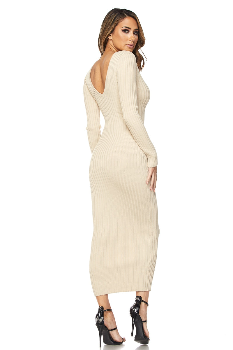Soft Taupe Long Sleeve Knit Full length Dress