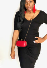 Red Quilted Snake Clutch