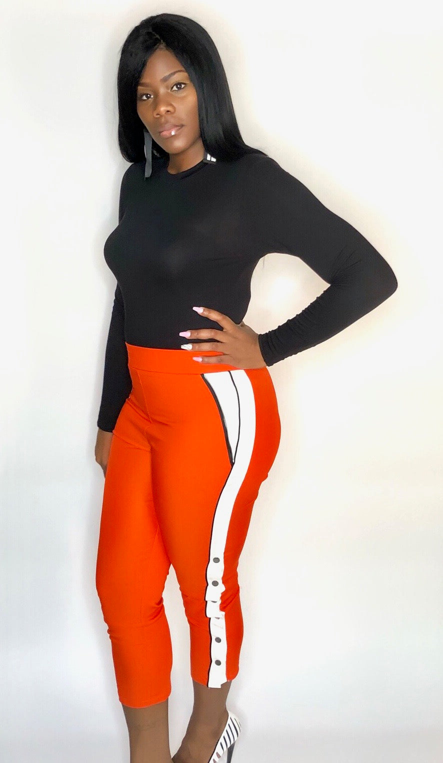 Orange Snap Track Pants