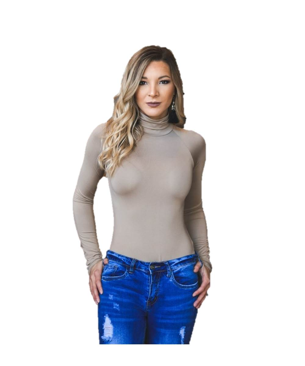 Taupe Turtle Neck Long Sleeve Bodysuit