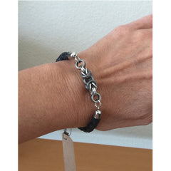 Braided Cord and Byzantine Chain Maille Bracelet